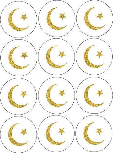 Ramadan Eid Round Glossy Stickers - 12 pcs set