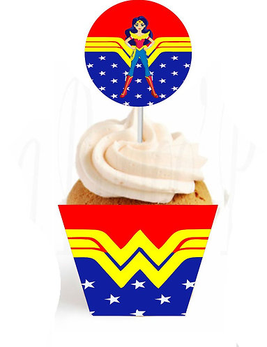 Wonder Woman DC Girls Cupcakes Toppers or Wrappers - 12 pcs or 24 pcs