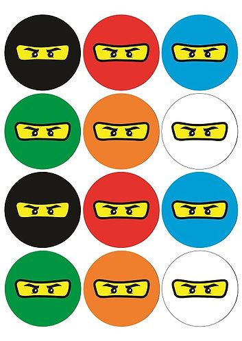 Ninjago Lego Round Glossy Stickers - 12 pcs set
