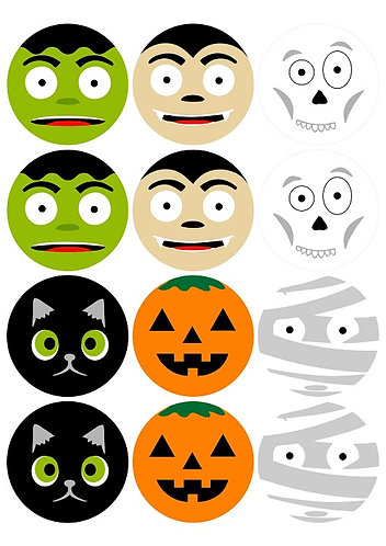 Cute Halloween Characters Round Glossy Stickers - 12 pcs set
