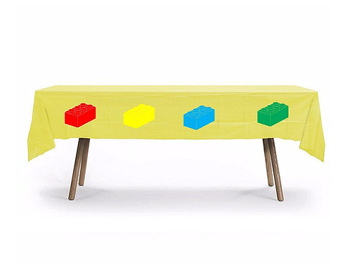 Lego Blocks Plastic Table Cover with Stickers - 140 cm x 275cm