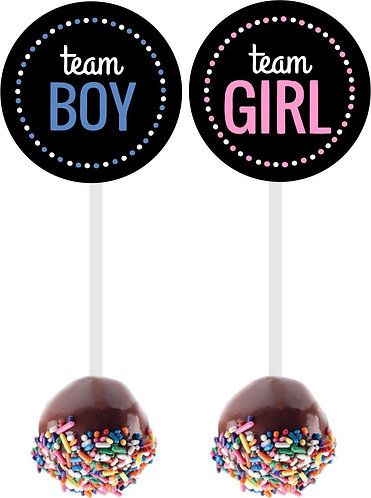 Team Boy team Girl Gender Reveal Baby Shower Cakepops Toppers - 12 pcs set