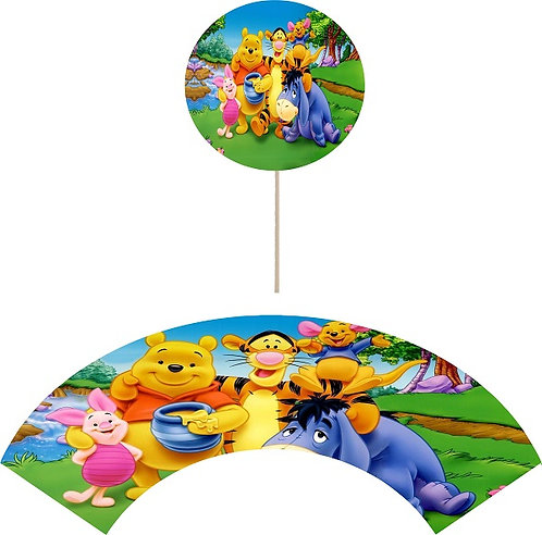 Winnie the Pooh Cupcakes Toppers or Wrappers - 12 pcs or 24 pcs
