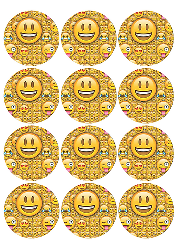 Emoji Round Glossy Stickers - 12 pcs set