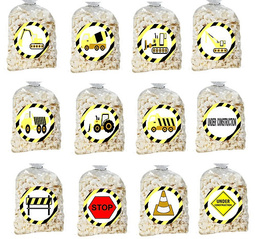 Under Construction Giveaways Clear Bags for Popcorn or Candies - 12 pcs set