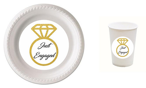 Just Engaged Wedding Plastic Plates with Cups - 12 pcs set