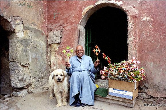 Man & Friend Selling Coptic Crosses, Cairo