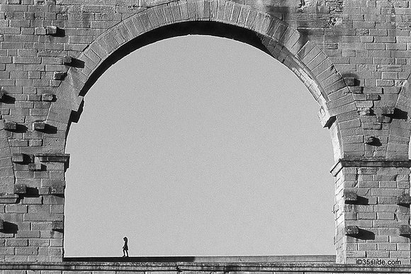 Girl on the Pont du Gard, France