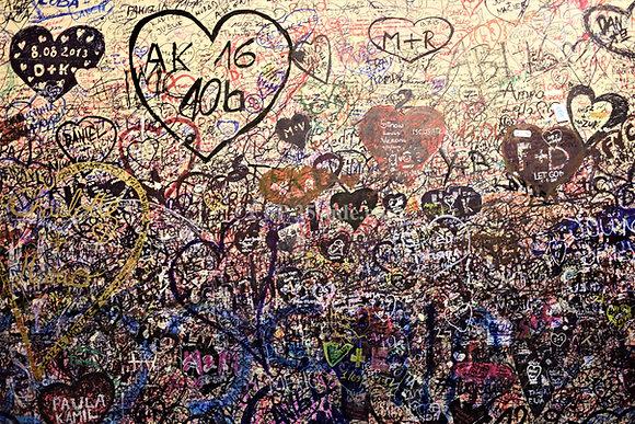 Layers of Lovers' Graffiti, Verona, Italy