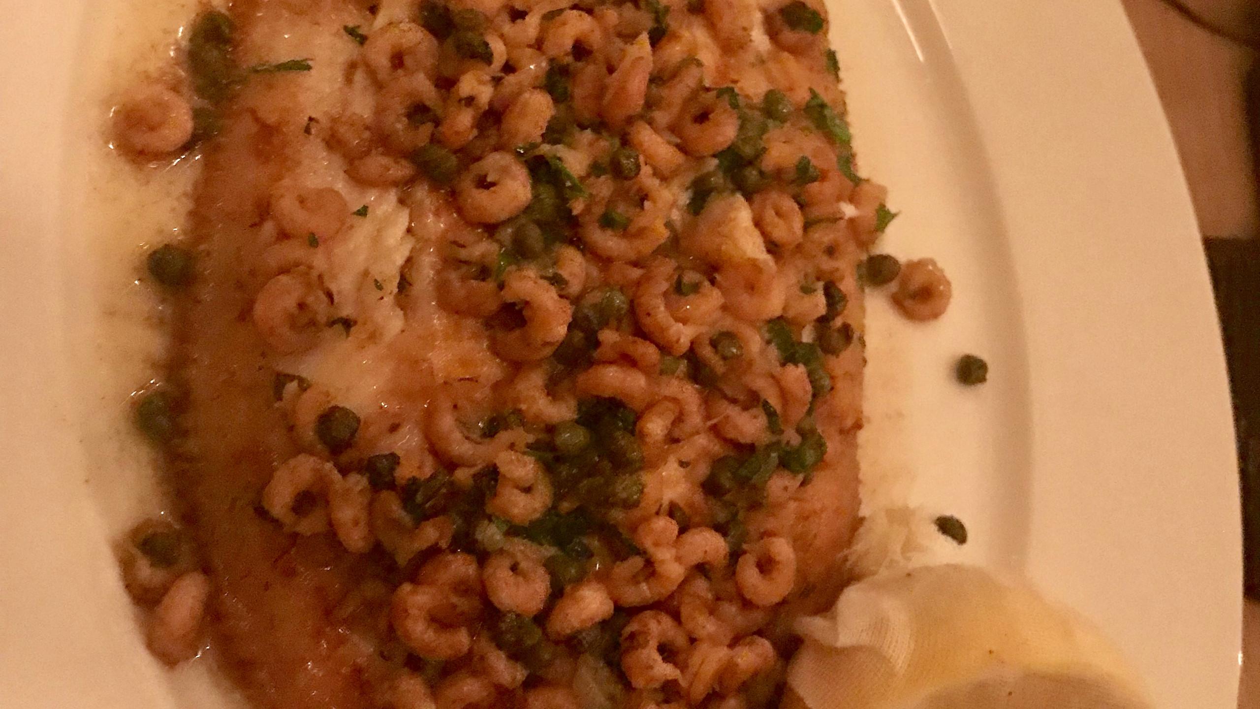 Roasted lemon sole with brown shrimp
