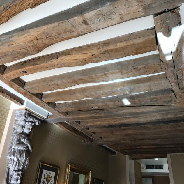 Reclaimed wood beams