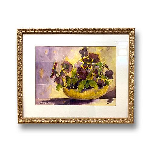 Pansy Pot - Original Watercolor