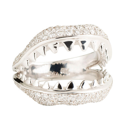 18ct gold and diamonds shark jaws statement ring
