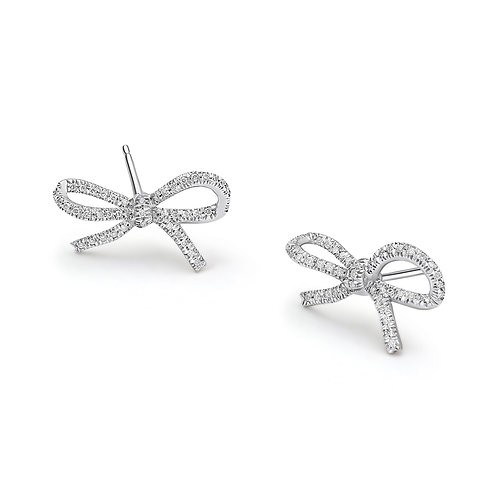 White Gold and Diamonds Bows Ear Studs