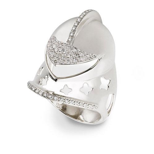 White Gold and Diamonds War Helmet  Ring