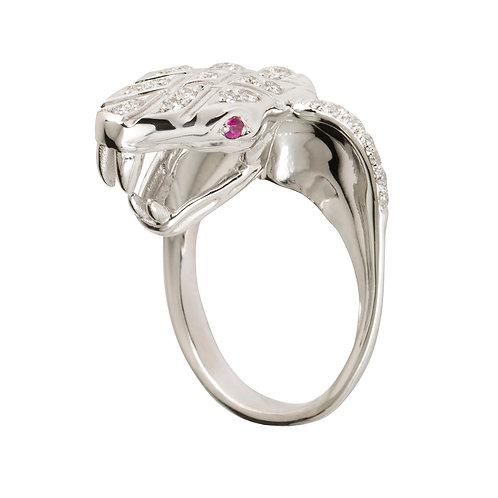 White Gold and Diamonds Cobra Kiss Ring