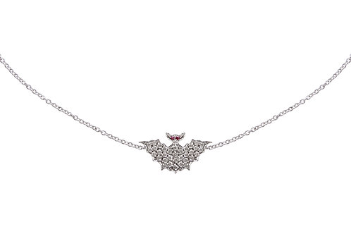 White Gold and Diamonds Bat Necklace
