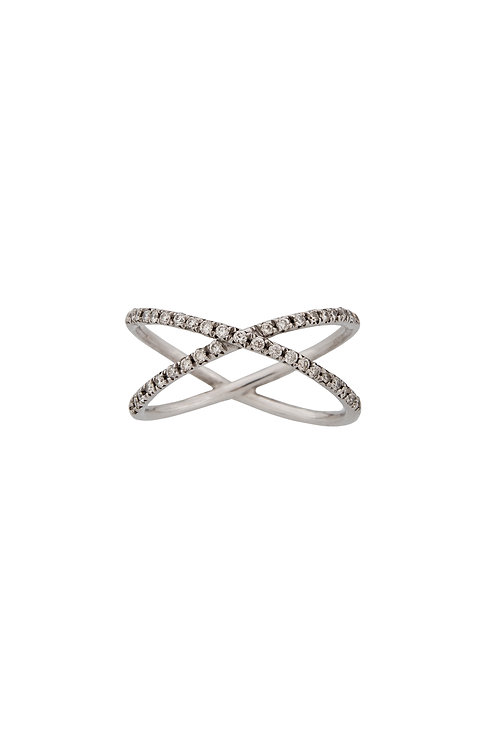 """Criss-cross"" White Gold and Diamonds Ring"