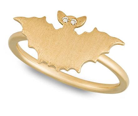 Brushed Yellow Gold Bat ring