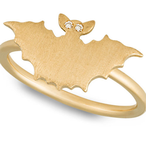 Brushed Yellow Gold Bat Ring