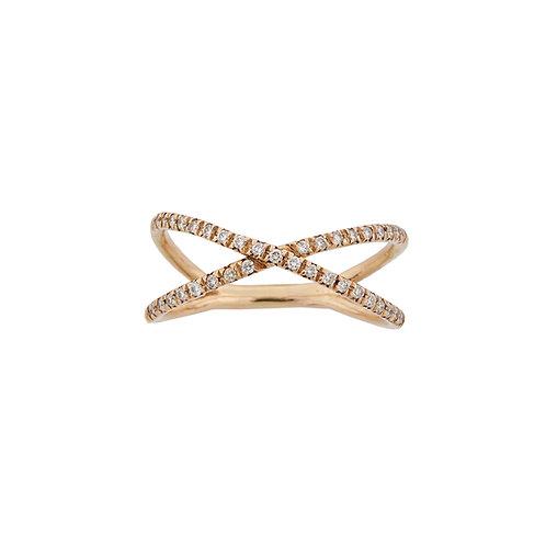 """Criss-cross"" Yellow Gold and Diamonds Ring"