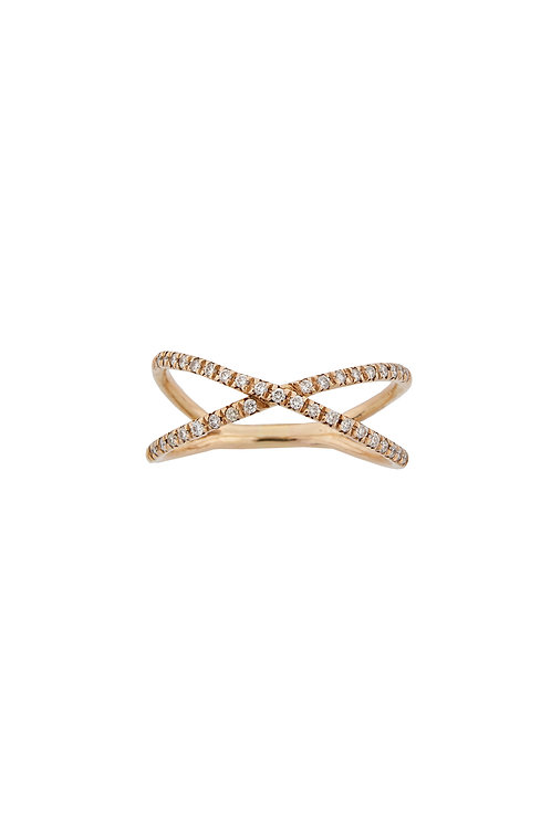 """Criss-cross"" Rose Gold and Diamonds Ring"