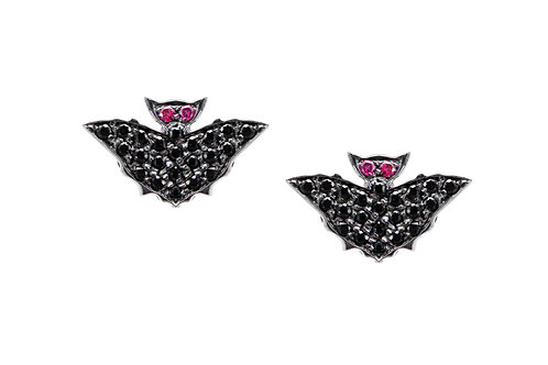 Bat Earrings with Ruby Eyes