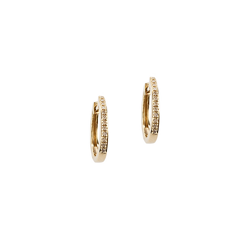 Yellow Gold and White Diamonds Hoops