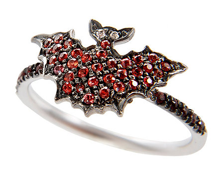 Red Sapphires and Diamonds Bat Ring