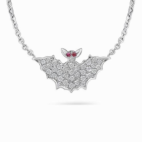 White Gold and Diamonds Large Bat Necklace