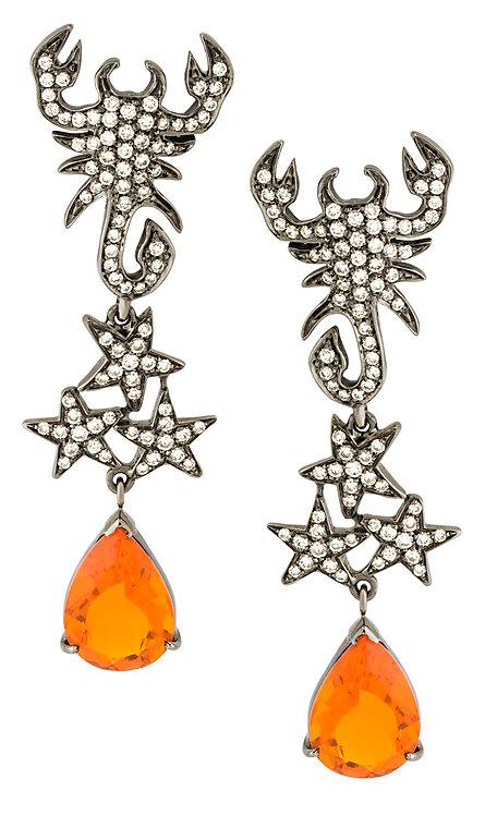 Fire Opal Scorpion Earrings