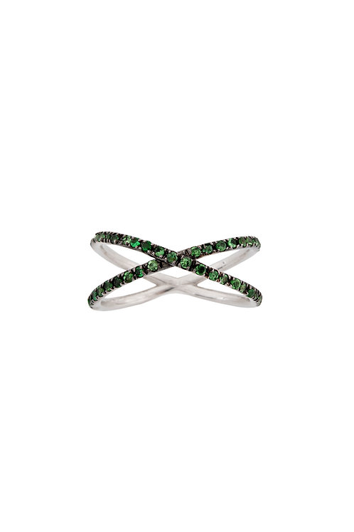 """Criss-cross"" White Gold and Tzavorite Ring"