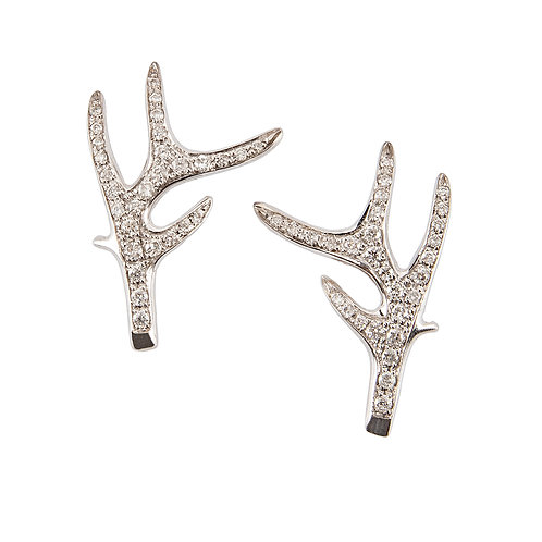 White Gold and Diamonds Deer Horn Earrings