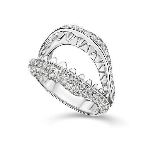 """White Gold and Diamonds """"Most Dangerous Kiss"""" Ring"""