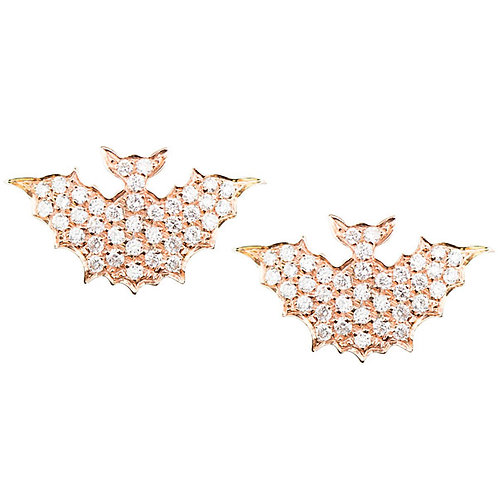 Yellow Gold and Diamonds Bats studs