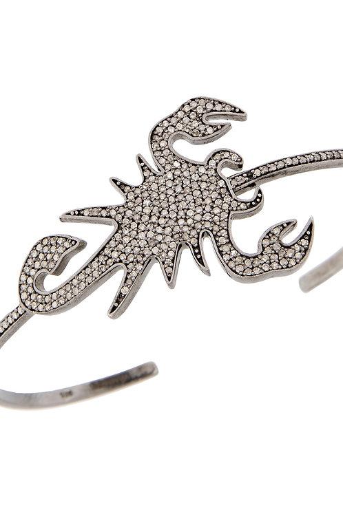 Black Gold and grey diamond Scorpion Bangle