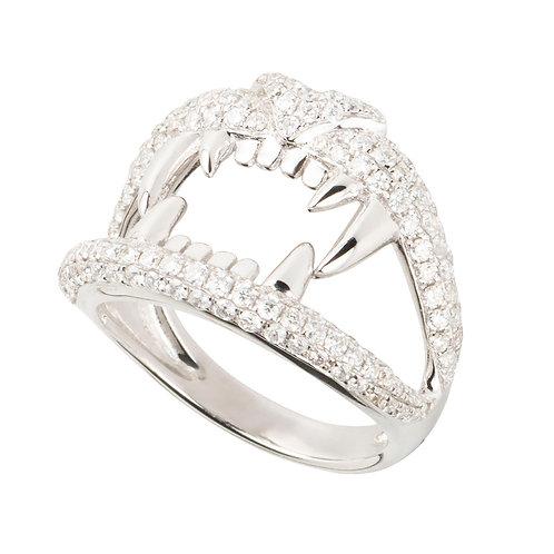 Lion mouth ring, 18ct white gold, white diamonds