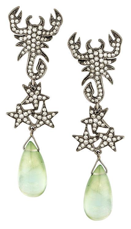 White diamonds scorpions pendent earrings