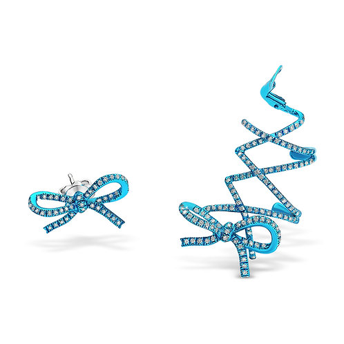 Turquoise Rhodium Plated Corset Ear Cuf