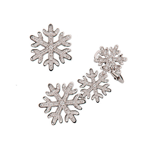 White Gold and Diamonds Snowflakes Ear cuff