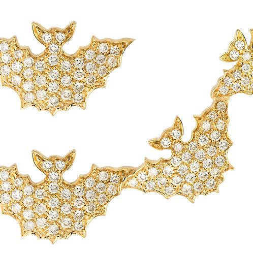 Yellow Gold and White Diamonds Bats Ear Cuffs