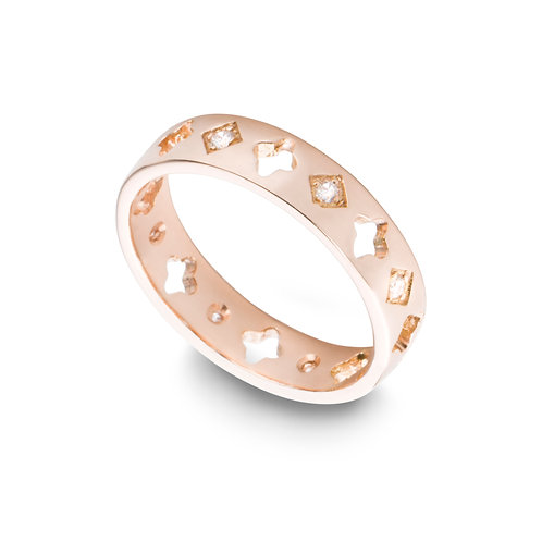 Rose gold and white diamonds ring