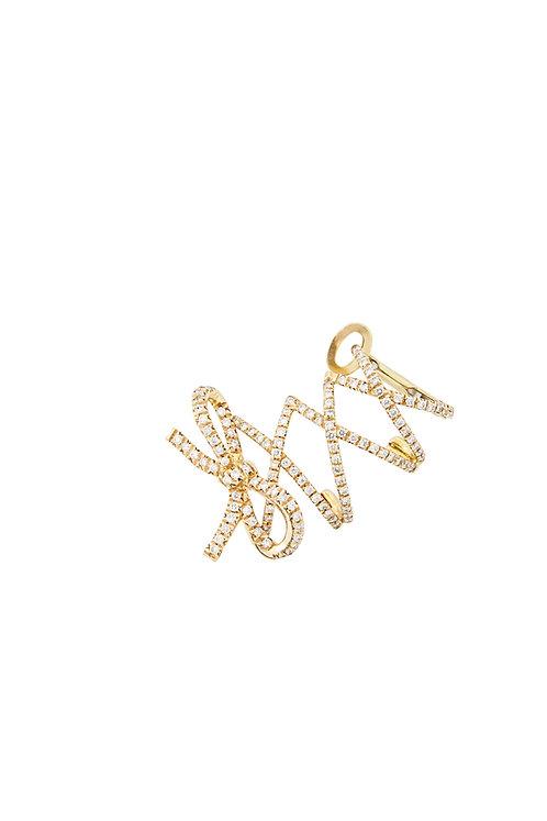 Single Yellow Gold Corset Ear Cuff