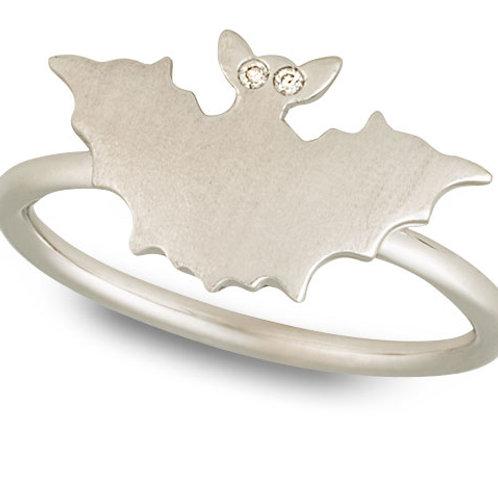 Brushed White Gold Bat Ring