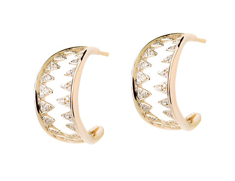 18ct gold and diamonds shark teeth earrings