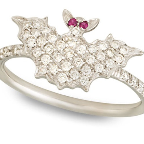 White Gold and Diamonds Bat Ring