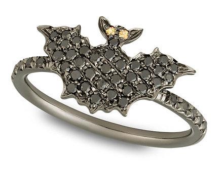 Black Gold and Black diamonds Bat Ring