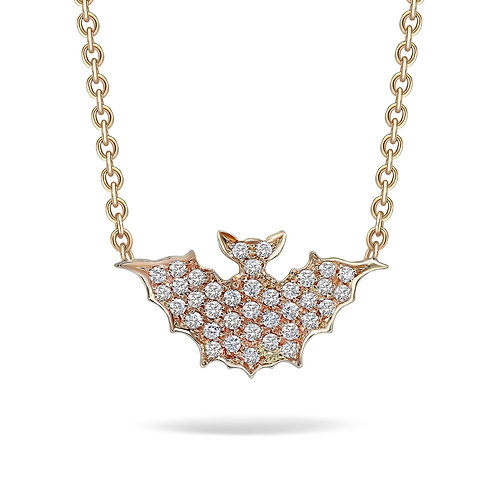 Yellow Gold and Diamonds Large Bat Necklace