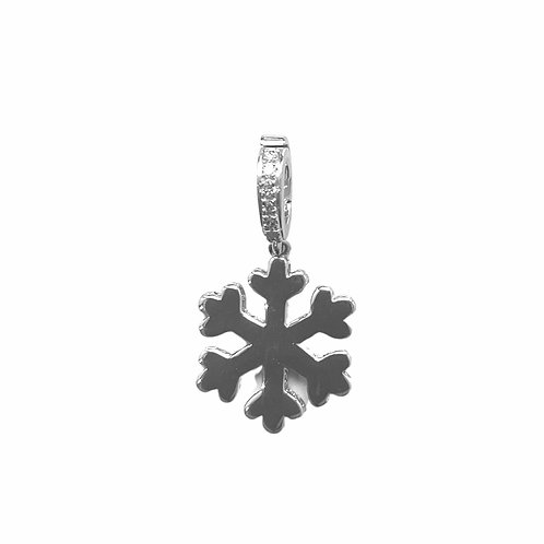 White Gold and white diamonds snowflake charm