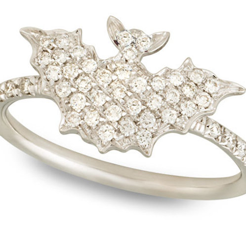White Diamonds Bat Ring, no eyes